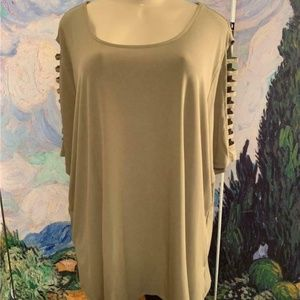 Michael Kors Green Lattice Sleeve Tunic Top